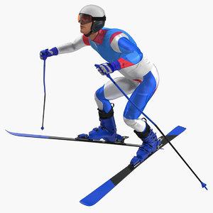 male skier generic skis 3D model