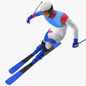 3D male skier generic skis