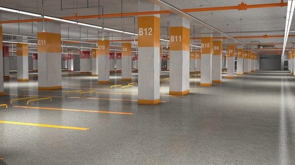 3D carparking interior car model