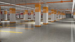 3D carparking interior car model