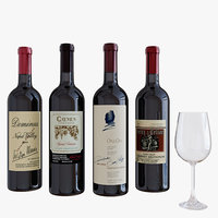 3D wine wineglass