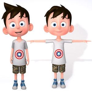 3D cartoon boy character rigging model