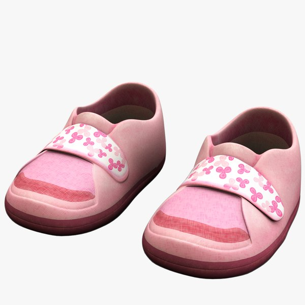 3d pink children s shoes model