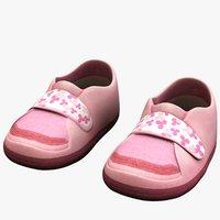 3d pink children s shoes model