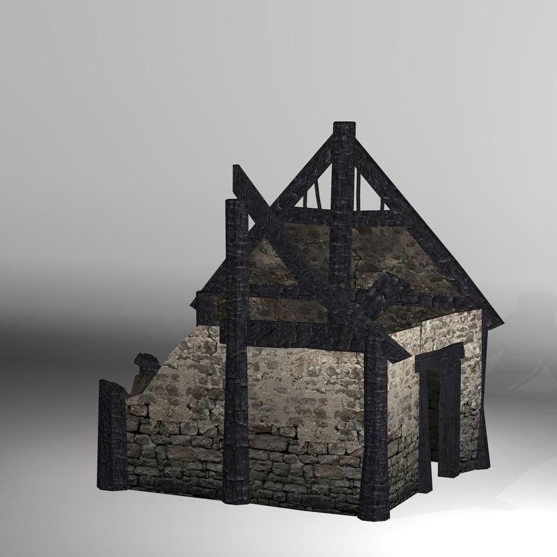 3D burned thatched house model