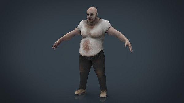 fat zombie 3D model