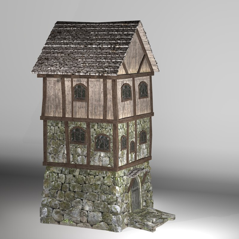 3D medieval fantasy house model