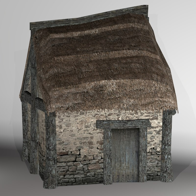 3D model thatched house