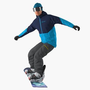 3D snowboard man snow board