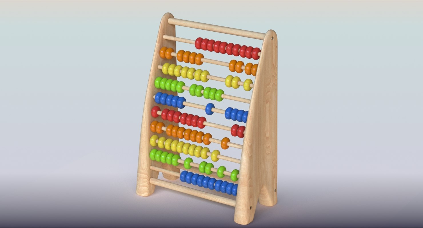 wooden educational counter 3D model