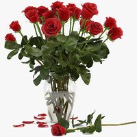 rose red flower bouquet obj