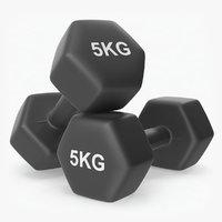 3D plastic fitness dumbbells 5kg