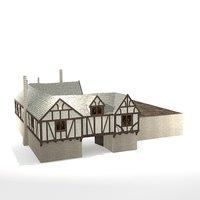medieval fantasy inn blue 3D model