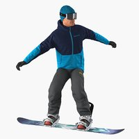 3D model snowboarder riding pose boards