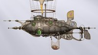 PBR / Steampunk/Dieselpunk Scavenger Submarine & Airship with PBR materials