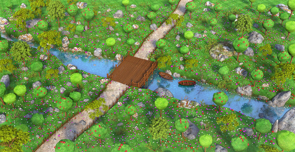 3D forest cartoon river model
