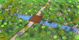 3D forest cartoon river model