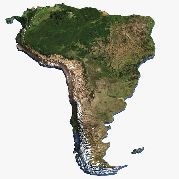 3D south america continent