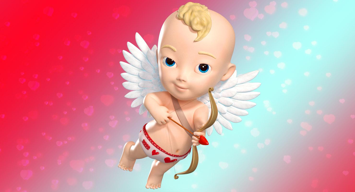 cartoon baby boy cupidon 3D