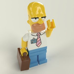 lego homer simpson 3D model