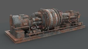 3D rusted machinery device