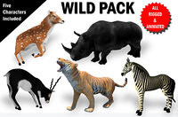 3D rigged wild pack animations model