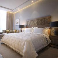standard hotel room scene 3D model