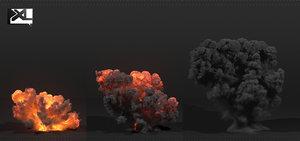 simulate explosion fumefx 3D