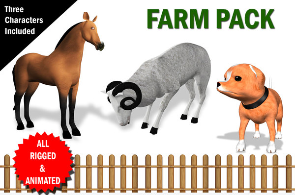 fully rigged farm animal 3D