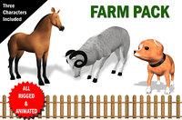 fully rigged farm animal 3D