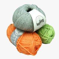 3D model balls wool