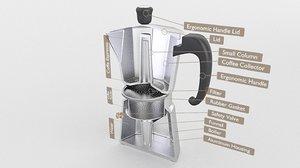 3D moka pot coffee
