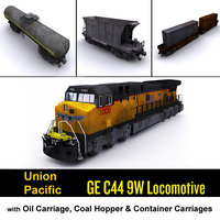 union pacific locomotive cargo 3d model