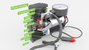 3D air car compressor model