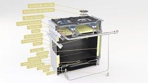 gas range cooker 3D model