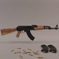 3D rigged ak-47 model