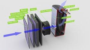 3D air purifier model