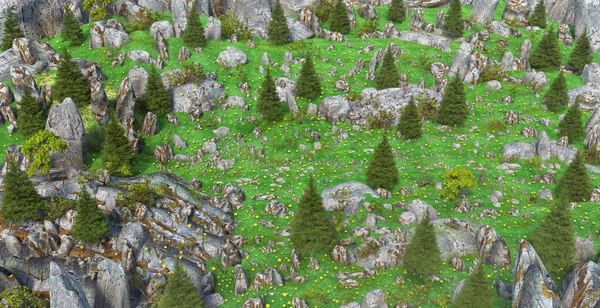 3D forest pine model