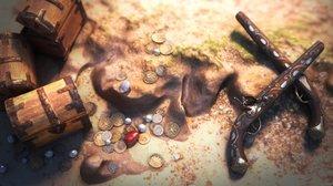 3D pirate wooden treasure model