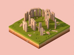3D cartoon stonehenge landmark