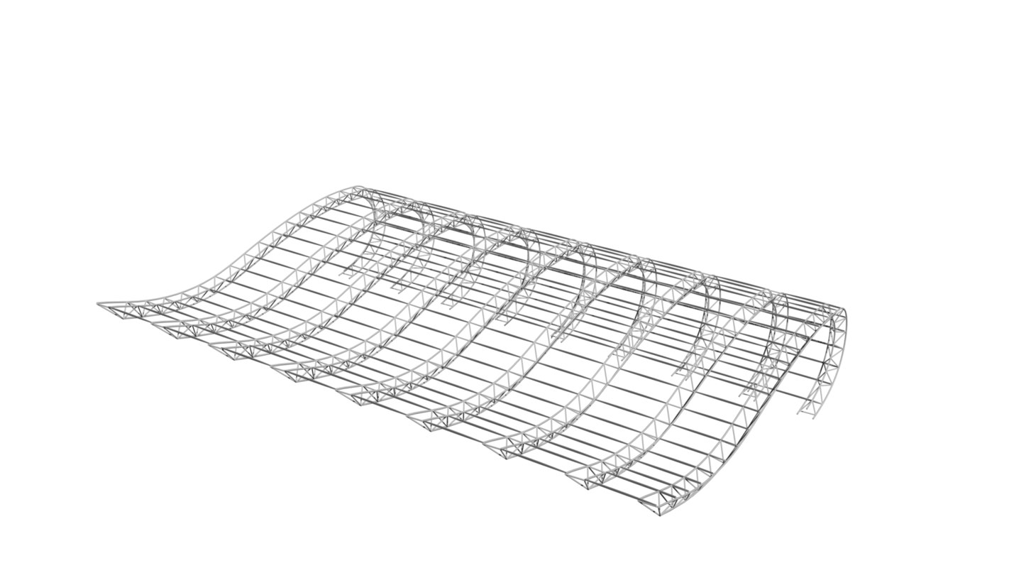 curved roof structure 3D model