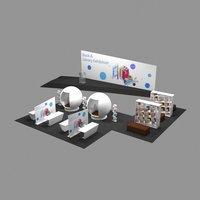 3D model design book library exhibition