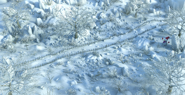 3D model path forest snow