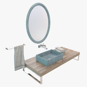 3D model concrete washbasin