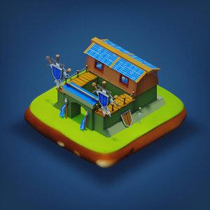 barracks - rpg medieval 3D model