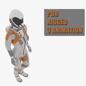 3D female space suit model