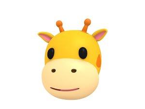 giraffe head cartoon model