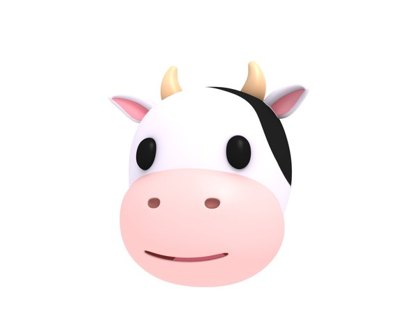 cow head cartoon 3D