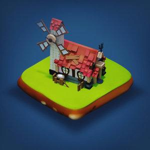 - rpg medieval low-poly building 3D model