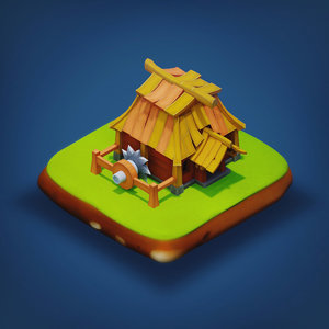 3D model - rpg medieval low-poly building